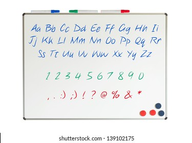 Letters, numbers and punctuation marks on a whiteboard