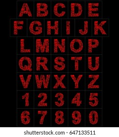 letters and numbers red artistic fiber mesh style isolated on black background