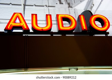 Letters on a audio shop