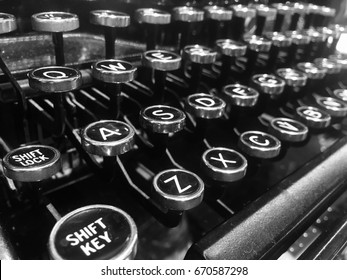Letters on the keys of an old typewriter