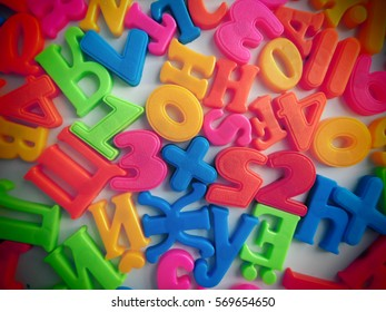 The letters on a magnet.