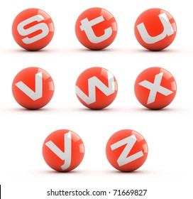 Letters on a red balls isolated on white. Part 3 of 3.