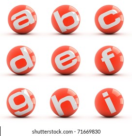 Letters on a red balls isolated on white. Part 1 of 3.