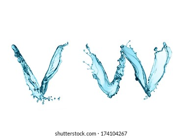 Letters vw of water alphabet isolated on white background
