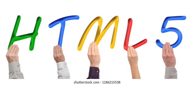Letters of the word html5 held by hands, isolated on white