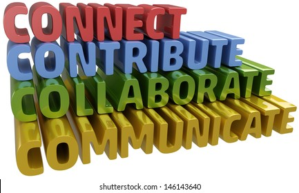 Lettter C words stack up collaboration connection contribution communication