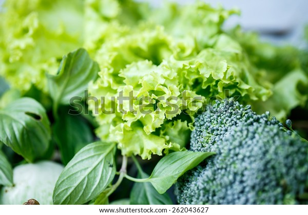 Lettuce, broccoli and greens