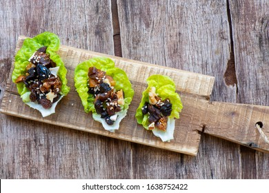 Lettuce heart stuffed with mixture of chopped dried fruit (Mincemeat)