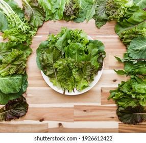 lettuce, kale .. fresh and green vegetables