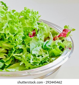 Lettuce salad on a kitchen table
