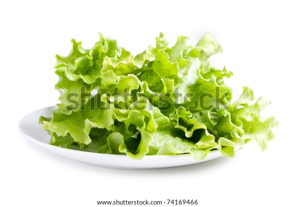 Lettuces leaves on white plate isolated on white background
