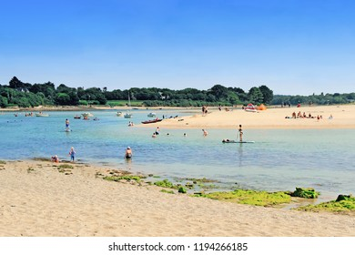 Letty Beach and La Mer Blanche or White sea - preserved natural lagoon between Benodet et Mousterlin, Brittany, Finistere, France