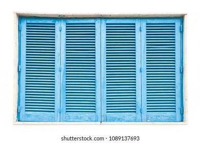 Leuca, Apulia, Italy - A traditonal blue closed lamella window