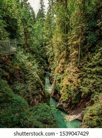 Leutasch canyon beautiful narrow valley , Tyrol, Austria.