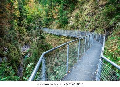 Leutaschklamm - bridge in wild gorge in the alps of Austria
