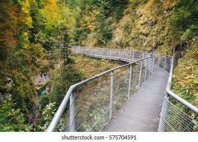 Leutaschklamm - bridge in wild gorge in the alps of Germany