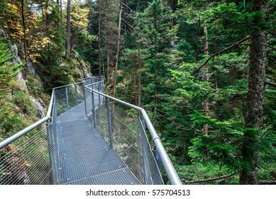 Leutaschklamm - path on bridge in wild gorge in the alps of Austria