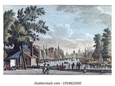 Leuvehaven in Rotterdam, vintage engraving.