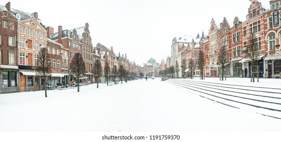 LEUVEN, BELGIUM - 15 JANUARY 2013: Row of beautiful buildings on Oude Markt (Old Square), the longest bar in the world in Leuven, Belgium in winter on 15 January, 2013.