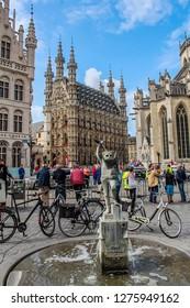 Leuven / Belgium - August 12, 2017: Flanders city Leuven town square