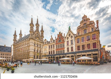 LEUVEN, BELGIUM - March 31, 2017: Panoramic view of the historic city of Leuven with famous Grote Markt town square on a beautiful sunny with blue sky and clouds, Flanders region, Belgium