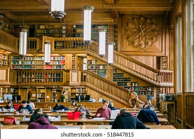 LEUVEN, BELGIUM - OCTOBER 14, 2015. Students who studying inside the library of the university of Leuven, Belgium, old from the years 1425.