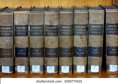 LEUVEN, BELGIUM - SEPTEMBER 05, 2014: Books of the dictionary Thieme-Becker Kunstler Lexikon in library of the Catholic University. Thieme-Becker is a famous German biographical dictionary of artists.