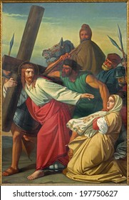LEUVEN, BELGIUM - SEPTEMBER 3, 2013: Paint of scene Jesus and Veronica on the cross way. by G. Guffens in St. Michael church.