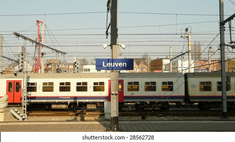 leuven train station with a belgian train