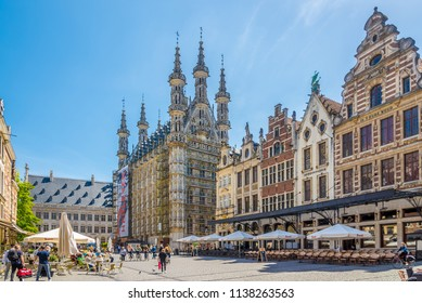 LEUVEN,BELGIUM - MAY 17,2018 - At the Grote Markt place of Leuven. Leuven is located about 25 kilometres east of Brussels.
