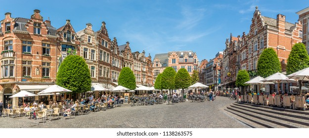 LEUVEN,BELGIUM - MAY 17,2018 - At the Oude Markt place of Leuven. Leuven is located about 25 kilometres east of Brussels.