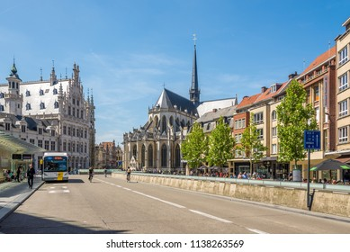 LEUVEN,BELGIUM - MAY 17,2018 - In the streets of Leuven. Leuven is located about 25 kilometres east of Brussels.