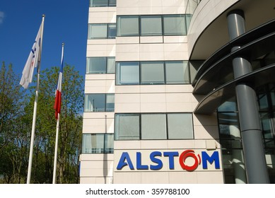 LEVALLOIS-PERRET, FRANCE - APRIL 12, 2015: Alstom headquarters in Levallois-Perret, near Paris. Alstom is a leading company in rail industry.