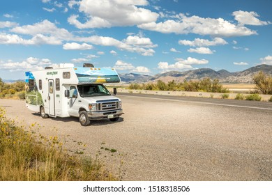Levan, Utah, USA. September 7, 2019 - Cruise America RV besides a road in Utah