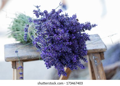 Levander bouquet on stair