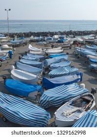 LEVANTO, ITALY - 7 AUGUST 2018: Port of Levanto with lots of boats