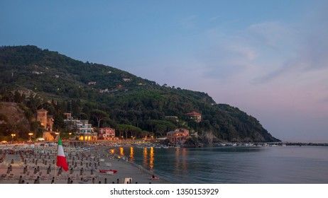 LEVANTO, ITALY - 8 AUGUST 2018: view of the beach at the evening