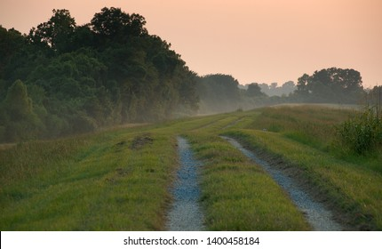 Levee between the Mississippi River and River Road near Baton Rouge, Louisiana, USA.