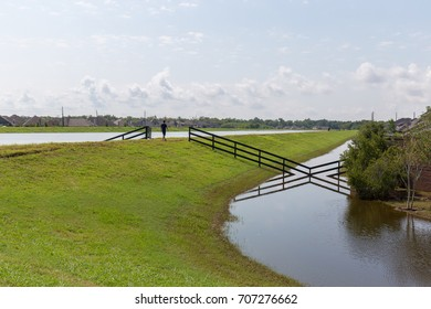 Levee system protecting a neighborhood
