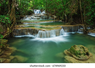 Level 1 of Huay Mae Kamin waterfall in Khuean Srinagarindra National Park, Kanchanaburi Province, Thailand