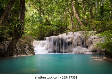 Level 5 of Erawan waterfall, located in Erawan national park, Kanchanaburi, Thailand.