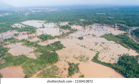 the level of flood after dam was collapsed at Attapeu, laos. Photo was taken on 01 of August 2018. there are a lot of victims of flood and house destroyed.