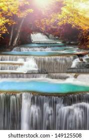 Level four of Huai Mae Kamin Waterfall in Kanchanaburi Province, Thailand