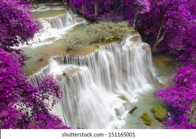 Level four of Huay Mae Khamin Waterfall in Kanchanaburi Province, Thailand