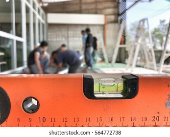 Level measuring tool at renovation site