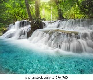 Level six of Erawan Waterfall in Kanchanaburi Province, Thailand