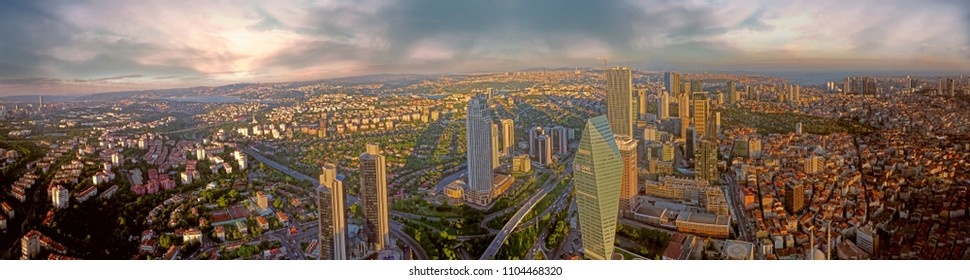 Levent, Istanbul / Turkey - 06-04-2018: panoramic Istanbul aerial viewing in maslak tower. Bosphorus Bridge, Maiden's tower, galata tower wide angle in Turkey. New city plan.