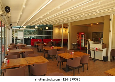 Levent, Turkey - November 27 2018: Interior of a coffeshop in the tourist district of Istanbul in Turkey