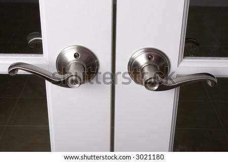 Lever Door Handles On French Doors Stock Photo Edit Now 3021180