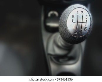 Lever manual six-speed gearbox. Automobile car background. Handle a manual transmission
